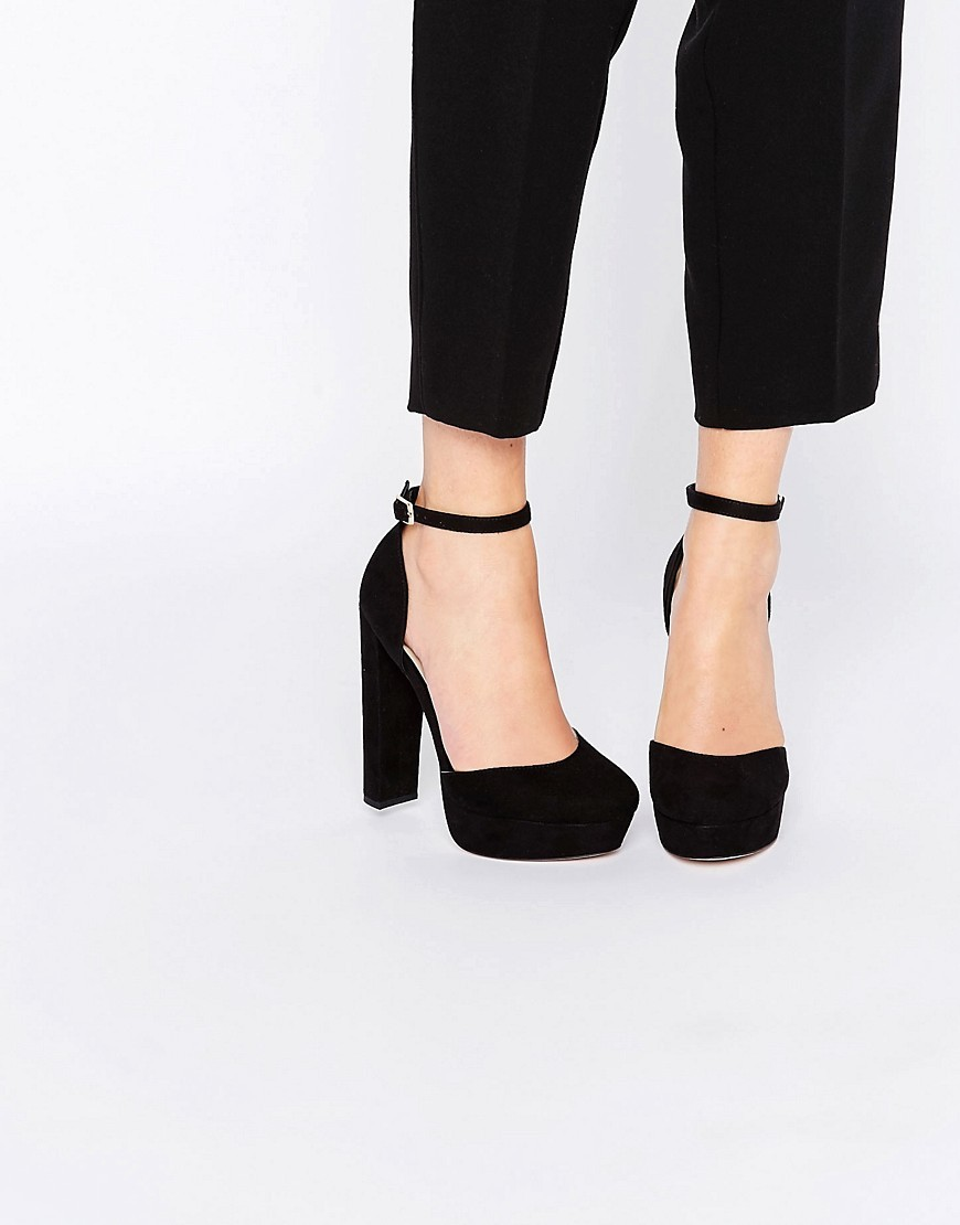 Photobox Platform Shoes Black - predominant colour: black; occasions: evening, occasion; material: suede; ankle detail: ankle strap; heel: block; toe: round toe; style: courts; finish: plain; pattern: plain; heel height: very high; shoe detail: platform; season: s/s 2016; wardrobe: event