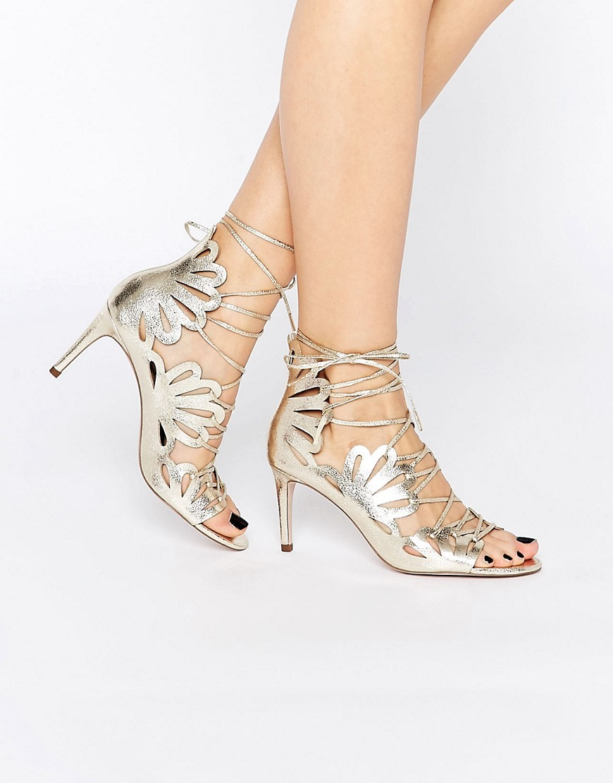 Swirl Lace Up Heels Champagne - predominant colour: gold; occasions: evening, occasion; material: faux leather; heel height: high; ankle detail: ankle tie; heel: stiletto; toe: open toe/peeptoe; style: strappy; finish: metallic; pattern: plain; season: s/s 2016