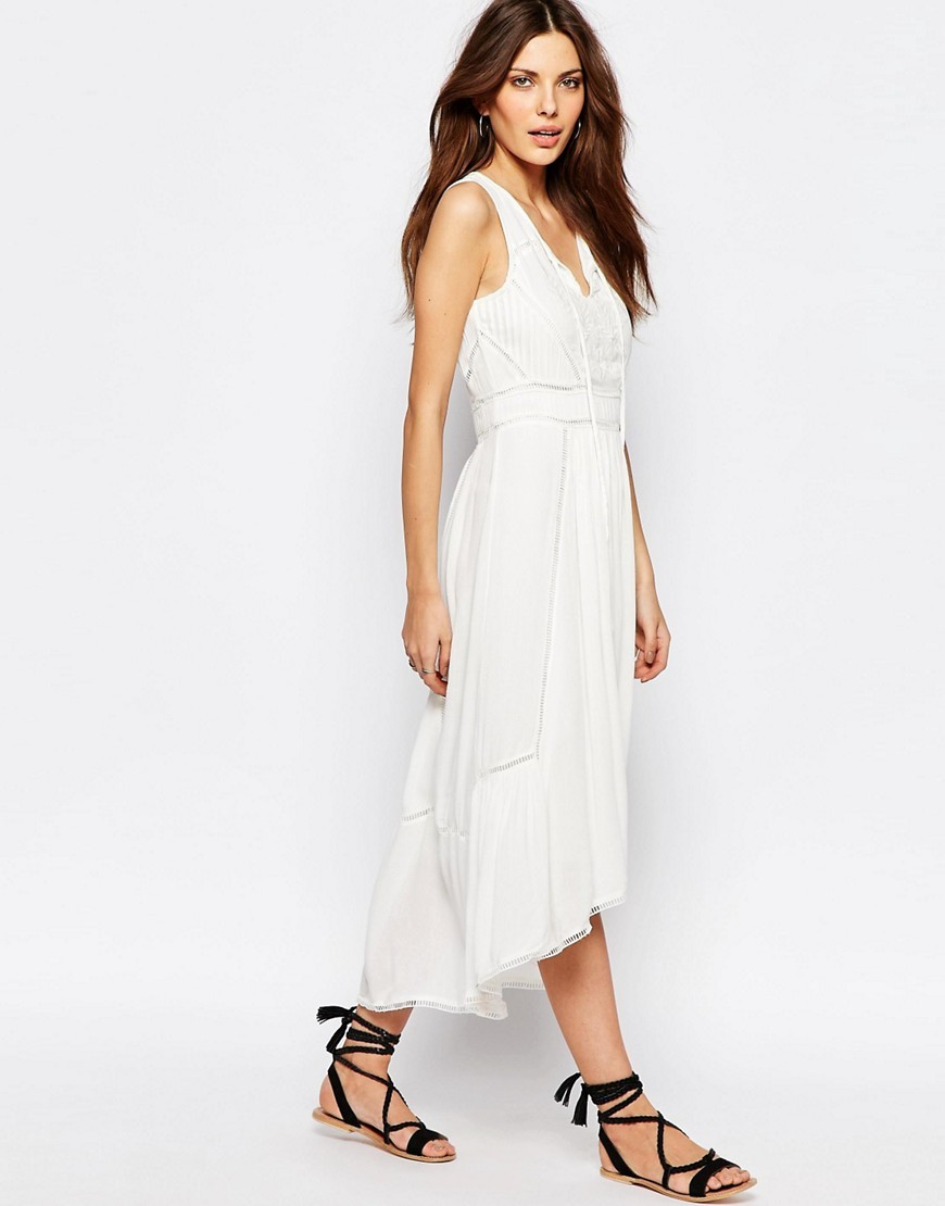 Folk Tie Waist Midi Dress Snow White - length: calf length; neckline: v-neck; sleeve style: sleeveless; predominant colour: white; occasions: casual, holiday, creative work; fit: body skimming; style: asymmetric (hem); fibres: viscose/rayon - 100%; sleeve length: sleeveless; pattern type: fabric; pattern: patterned/print; texture group: other - light to midweight; season: s/s 2016