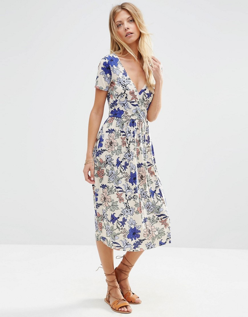 Wrap Midi Dress With Pleats In Floral Print Multi - style: shift; length: below the knee; neckline: v-neck; waist detail: belted waist/tie at waist/drawstring; predominant colour: white; secondary colour: royal blue; occasions: casual; fit: body skimming; fibres: polyester/polyamide - 100%; sleeve length: short sleeve; sleeve style: standard; pattern type: fabric; pattern: florals; texture group: other - light to midweight; multicoloured: multicoloured; season: s/s 2016; wardrobe: highlight
