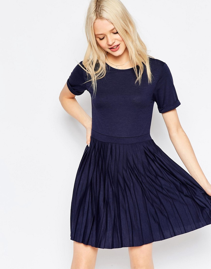 Pleated Mini Dress Navy - pattern: plain; predominant colour: navy; occasions: casual; length: just above the knee; fit: fitted at waist & bust; style: fit & flare; fibres: polyester/polyamide - mix; neckline: crew; hip detail: soft pleats at hip/draping at hip/flared at hip; sleeve length: short sleeve; sleeve style: standard; pattern type: fabric; texture group: jersey - stretchy/drapey; season: s/s 2016
