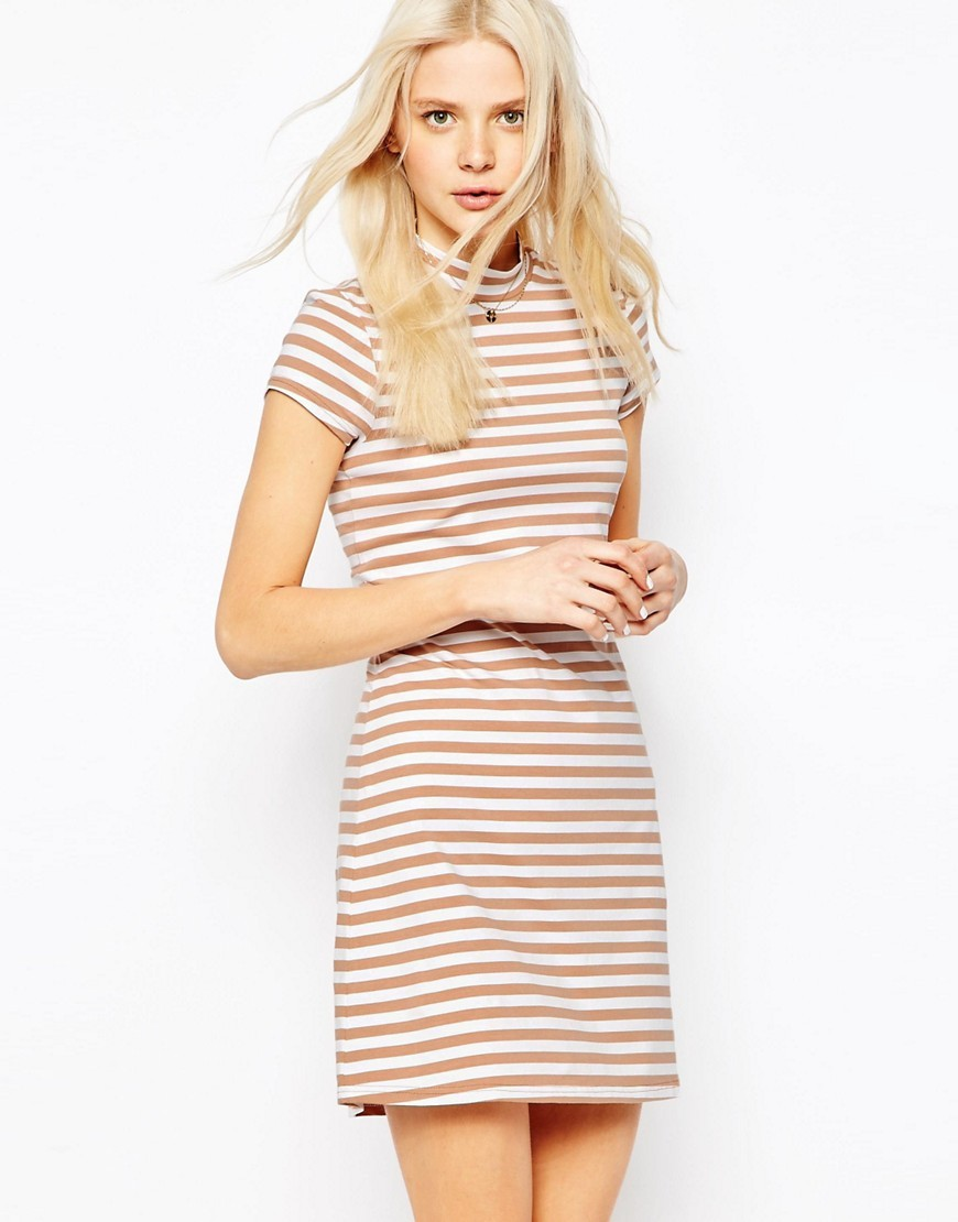 A Line Shift Dress With High Neck In Stripe Camel/White - style: shift; length: mid thigh; pattern: horizontal stripes; neckline: high neck; predominant colour: ivory/cream; secondary colour: blush; occasions: casual; fit: body skimming; fibres: cotton - 100%; sleeve length: short sleeve; sleeve style: standard; pattern type: fabric; texture group: jersey - stretchy/drapey; season: s/s 2016; wardrobe: basic