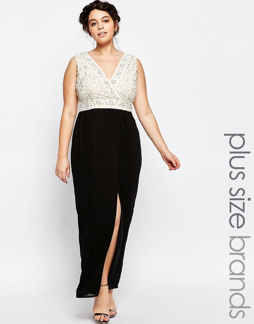 Plunge Front Embellished Maxi Dress With Wrap Skirt Black - neckline: v-neck; pattern: plain; sleeve style: sleeveless; style: maxi dress; length: ankle length; secondary colour: ivory/cream; predominant colour: black; occasions: evening; fit: body skimming; fibres: polyester/polyamide - 100%; hip detail: slits at hip; sleeve length: sleeveless; pattern type: fabric; texture group: other - light to midweight; embellishment: lace; season: s/s 2016; wardrobe: event