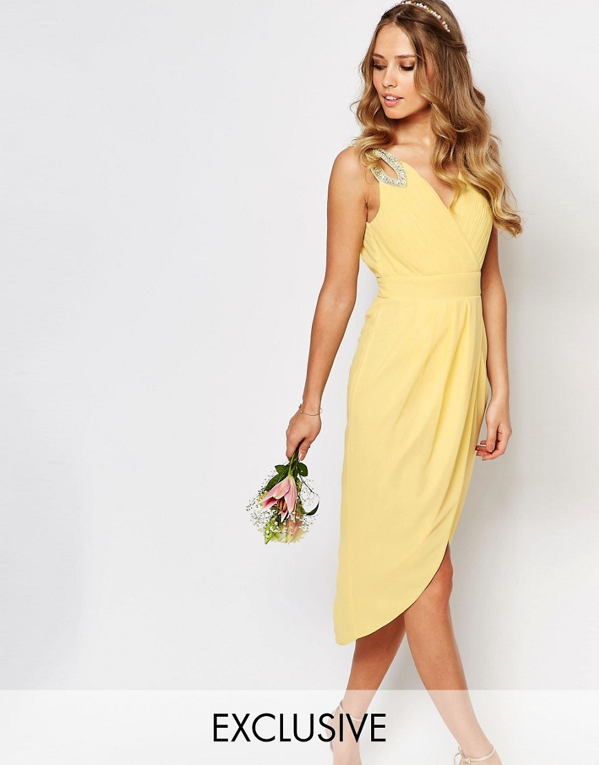 Wedding Wrap Embellished Midi Dress Pastel Yellow - style: faux wrap/wrap; length: calf length; neckline: v-neck; fit: fitted at waist; pattern: plain; sleeve style: sleeveless; predominant colour: primrose yellow; occasions: evening, occasion; fibres: polyester/polyamide - 100%; sleeve length: sleeveless; texture group: crepes; pattern type: fabric; season: s/s 2016; wardrobe: event; embellishment location: shoulder