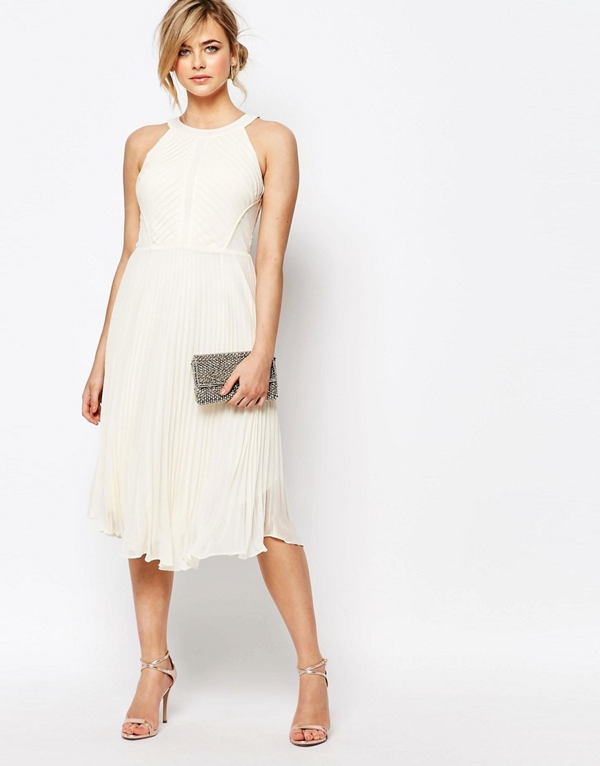 Pleat Asymmetric Hem Midi Dress Ivory - length: below the knee; pattern: plain; sleeve style: sleeveless; predominant colour: ivory/cream; occasions: evening; fit: fitted at waist & bust; style: fit & flare; fibres: polyester/polyamide - 100%; neckline: crew; hip detail: subtle/flattering hip detail; sleeve length: sleeveless; texture group: sheer fabrics/chiffon/organza etc.; pattern type: fabric; season: s/s 2016; wardrobe: event