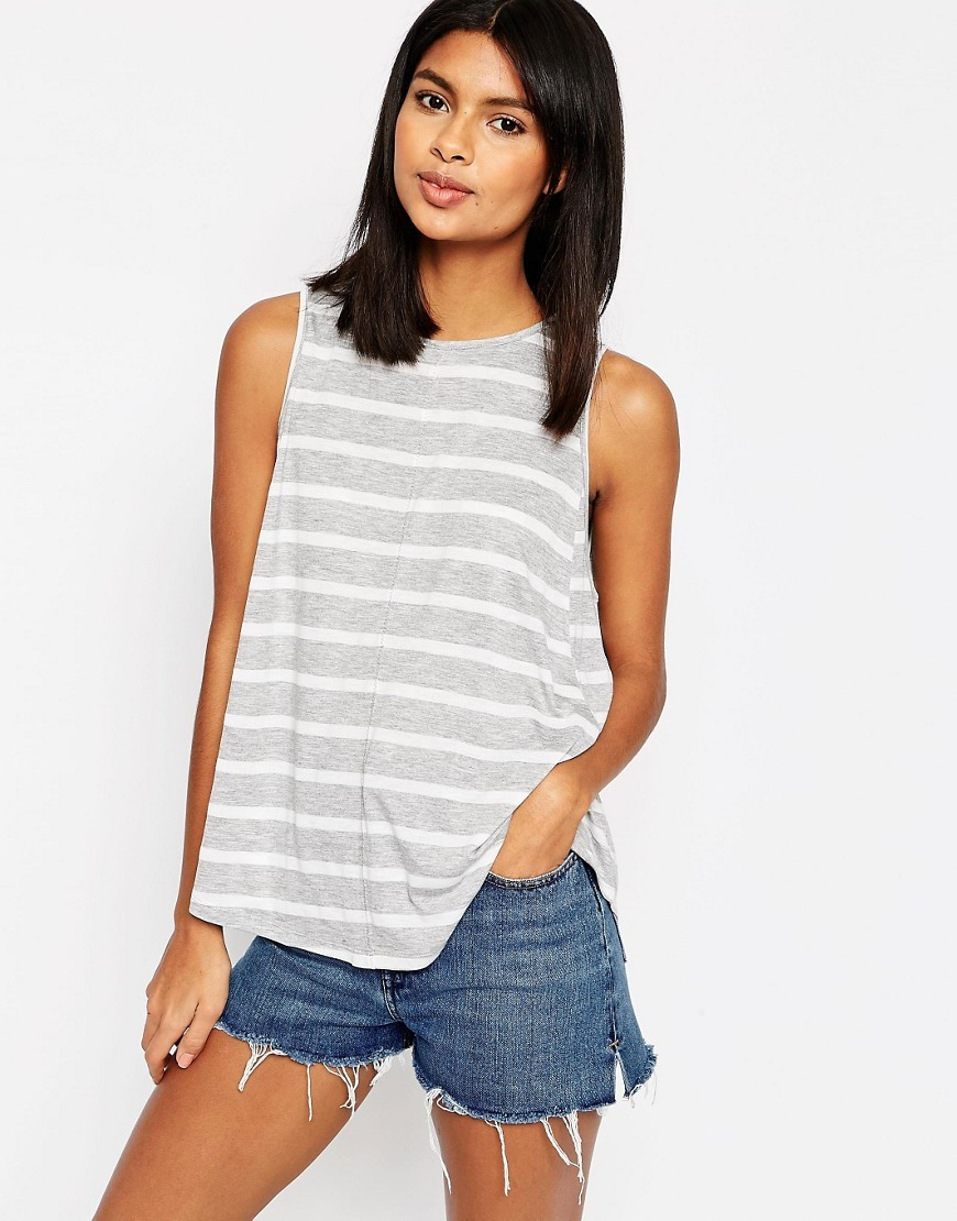 Swing Vest In Stripe Grey Marl/Cream - pattern: horizontal stripes; sleeve style: sleeveless; style: vest top; secondary colour: white; predominant colour: light grey; occasions: casual; length: standard; fibres: polyester/polyamide - mix; fit: body skimming; neckline: crew; sleeve length: sleeveless; pattern type: fabric; texture group: jersey - stretchy/drapey; multicoloured: multicoloured; season: s/s 2016; wardrobe: basic