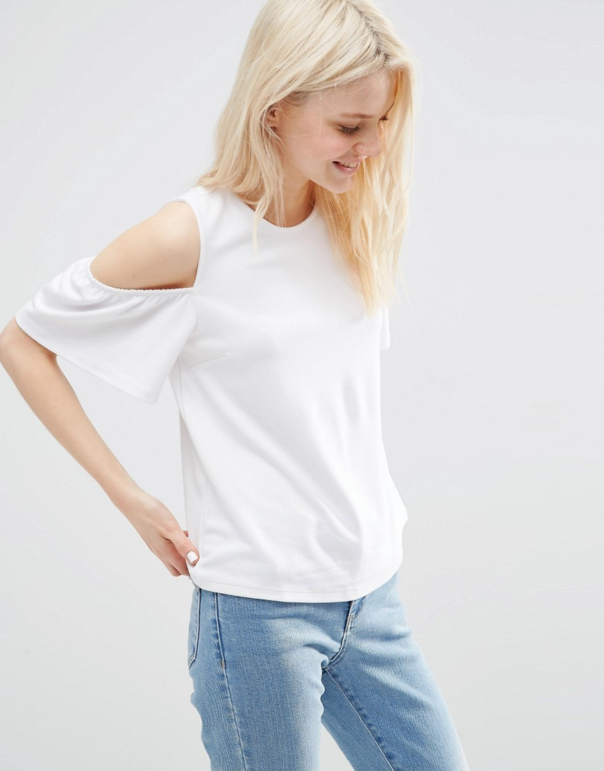 Top With Cold Shoulder And Ruffle Sleeve White - pattern: plain; predominant colour: white; occasions: casual; length: standard; style: top; fibres: viscose/rayon - stretch; fit: body skimming; neckline: crew; shoulder detail: cut out shoulder; sleeve length: short sleeve; sleeve style: standard; pattern type: fabric; texture group: jersey - stretchy/drapey; season: s/s 2016