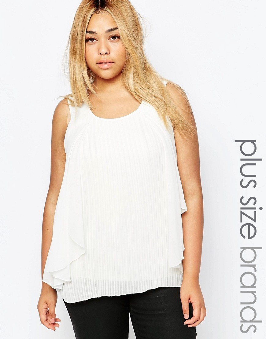 Sleeveless Pleated Top With Frill Detail White - neckline: round neck; pattern: plain; sleeve style: sleeveless; style: vest top; predominant colour: white; occasions: casual; length: standard; fibres: polyester/polyamide - 100%; fit: body skimming; sleeve length: sleeveless; pattern type: fabric; texture group: other - light to midweight; season: s/s 2016