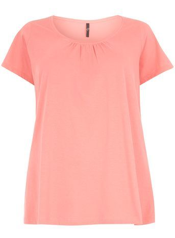 Pink Short Sleeve T Shirt - neckline: round neck; pattern: plain; style: t-shirt; predominant colour: pink; occasions: casual, creative work; length: standard; fibres: cotton - 100%; fit: loose; sleeve length: short sleeve; sleeve style: standard; texture group: jersey - clingy; pattern type: fabric; season: s/s 2016; wardrobe: highlight