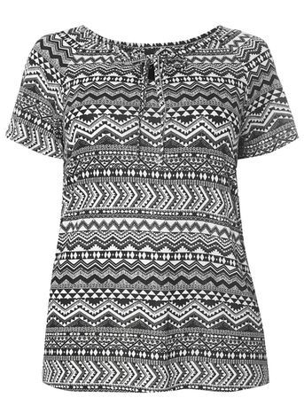 Black Printed Top - neckline: round neck; pattern: plain; style: t-shirt; secondary colour: white; predominant colour: black; occasions: casual, creative work; length: standard; fibres: cotton - 100%; fit: body skimming; sleeve length: short sleeve; sleeve style: standard; trends: monochrome, boho; pattern type: fabric; texture group: jersey - stretchy/drapey; season: s/s 2016
