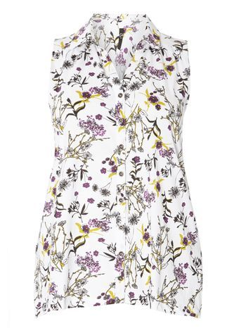 Ivory Floral Print Sleeveless Shirt - neckline: shirt collar/peter pan/zip with opening; sleeve style: sleeveless; length: below the bottom; style: tunic; predominant colour: white; secondary colour: black; occasions: casual, creative work; fibres: cotton - 100%; fit: body skimming; sleeve length: sleeveless; texture group: cotton feel fabrics; pattern type: fabric; pattern size: light/subtle; pattern: florals; season: s/s 2016; trends: boho; wardrobe: highlight