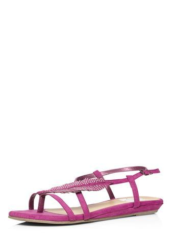 Pink Gem Feather Sandal - predominant colour: pink; occasions: casual, holiday; material: faux leather; heel height: flat; heel: standard; toe: open toe/peeptoe; style: strappy; finish: plain; pattern: plain; season: s/s 2016; wardrobe: highlight