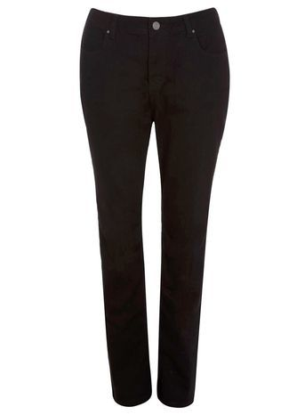 Black Pear Fit Straight Leg Jeans - style: skinny leg; length: standard; pattern: plain; waist: high rise; predominant colour: black; occasions: casual, evening, creative work; fibres: cotton - stretch; texture group: denim; pattern type: fabric; season: s/s 2016; wardrobe: basic