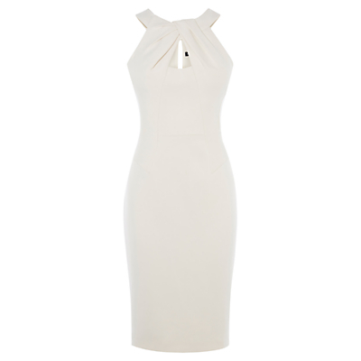 Folded Fabric Pencil Dress, White - style: shift; fit: tailored/fitted; pattern: plain; sleeve style: sleeveless; predominant colour: ivory/cream; occasions: evening, occasion; length: on the knee; neckline: peep hole neckline; fibres: polyester/polyamide - stretch; sleeve length: sleeveless; pattern type: fabric; texture group: other - light to midweight; season: s/s 2016