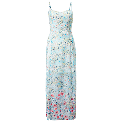 Petite Floral Maxi Dress, Pale Blue - sleeve style: spaghetti straps; fit: tailored/fitted; style: maxi dress; length: ankle length; neckline: sweetheart; secondary colour: ivory/cream; predominant colour: pale blue; fibres: polyester/polyamide - 100%; sleeve length: sleeveless; occasions: holiday; pattern type: fabric; pattern size: big & busy; pattern: florals; texture group: jersey - stretchy/drapey; season: s/s 2016; wardrobe: holiday