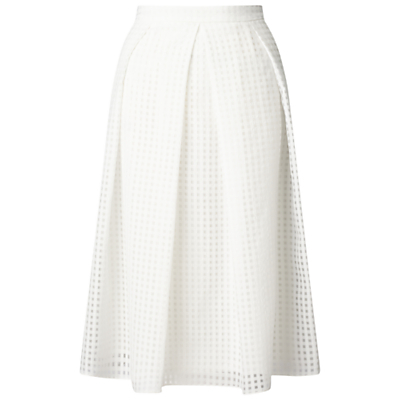 Organza Checked Skirt, White - length: below the knee; pattern: checked/gingham; style: full/prom skirt; fit: loose/voluminous; waist: high rise; predominant colour: white; fibres: polyester/polyamide - 100%; occasions: occasion; hip detail: structured pleats at hip; pattern type: fabric; texture group: other - light to midweight; pattern size: standard (bottom); season: s/s 2016