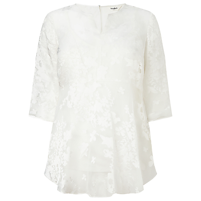 Olympia Top, White - pattern: plain; predominant colour: white; length: standard; style: top; neckline: collarstand & mandarin with v-neck; fibres: viscose/rayon - 100%; occasions: occasion; fit: loose; hip detail: subtle/flattering hip detail; sleeve length: half sleeve; sleeve style: standard; pattern type: fabric; texture group: other - light to midweight; embellishment: lace; season: s/s 2016; wardrobe: event