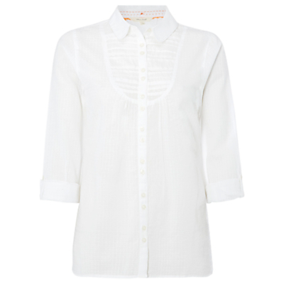 Past Time Shirt, White - neckline: shirt collar/peter pan/zip with opening; pattern: plain; style: shirt; bust detail: ruching/gathering/draping/layers/pintuck pleats at bust; predominant colour: white; occasions: casual; length: standard; fibres: cotton - 100%; fit: body skimming; sleeve length: 3/4 length; sleeve style: standard; texture group: cotton feel fabrics; pattern type: fabric; season: s/s 2016; wardrobe: basic