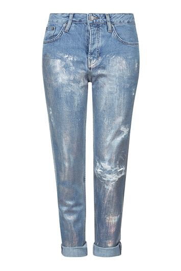 Moto Metallic Hayden Jeans - style: boyfriend; length: standard; pattern: plain; waist: low rise; pocket detail: traditional 5 pocket; predominant colour: denim; occasions: casual; fibres: cotton - mix; texture group: denim; pattern type: fabric; season: s/s 2016; wardrobe: basic; trends: metallics
