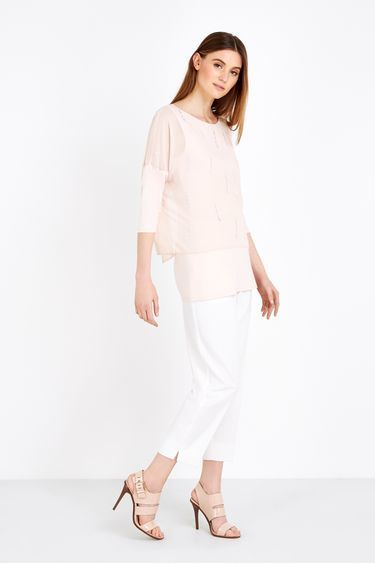 Blush Embellished Split Back Top - neckline: round neck; sleeve style: dolman/batwing; pattern: plain; length: below the bottom; hip detail: fitted at hip; predominant colour: nude; occasions: evening, creative work; style: top; fibres: polyester/polyamide - 100%; fit: body skimming; sleeve length: 3/4 length; texture group: sheer fabrics/chiffon/organza etc.; pattern type: fabric; season: s/s 2016; wardrobe: basic