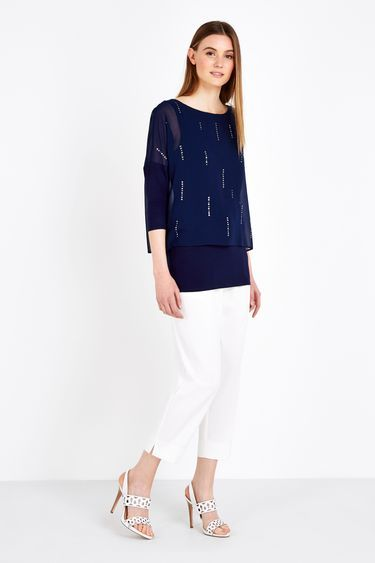Navy Embellished Split Back Top - neckline: round neck; sleeve style: dolman/batwing; pattern: plain; length: below the bottom; hip detail: draws attention to hips; predominant colour: navy; occasions: casual, creative work; style: top; fibres: polyester/polyamide - 100%; fit: body skimming; sleeve length: 3/4 length; texture group: sheer fabrics/chiffon/organza etc.; pattern type: fabric; pattern size: standard; season: s/s 2016; wardrobe: basic