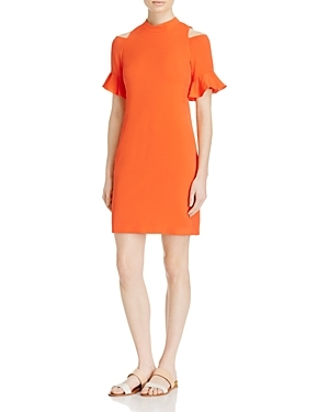 Ruffled Cold Shoulder Dress - style: shift; length: mid thigh; sleeve style: angel/waterfall; fit: tailored/fitted; pattern: plain; neckline: high neck; predominant colour: bright orange; occasions: evening, creative work; fibres: silk - mix; shoulder detail: cut out shoulder; sleeve length: short sleeve; texture group: crepes; pattern type: fabric; season: s/s 2016; wardrobe: highlight