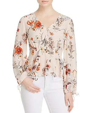 Meadow Floral Print Silk Blouse - neckline: v-neck; style: blouse; predominant colour: ivory/cream; occasions: casual, creative work; length: standard; fibres: silk - 100%; fit: tailored/fitted; sleeve length: long sleeve; sleeve style: standard; texture group: silky - light; pattern type: fabric; pattern: florals; pattern size: big & busy (top); season: s/s 2016; wardrobe: highlight