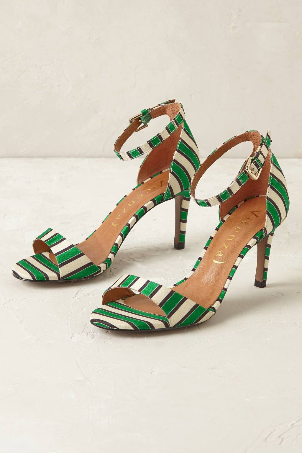 Emerald Striped Heels - predominant colour: emerald green; occasions: occasion, creative work; material: fabric; heel height: high; heel: stiletto; toe: open toe/peeptoe; style: standard; finish: plain; pattern: striped; season: s/s 2016