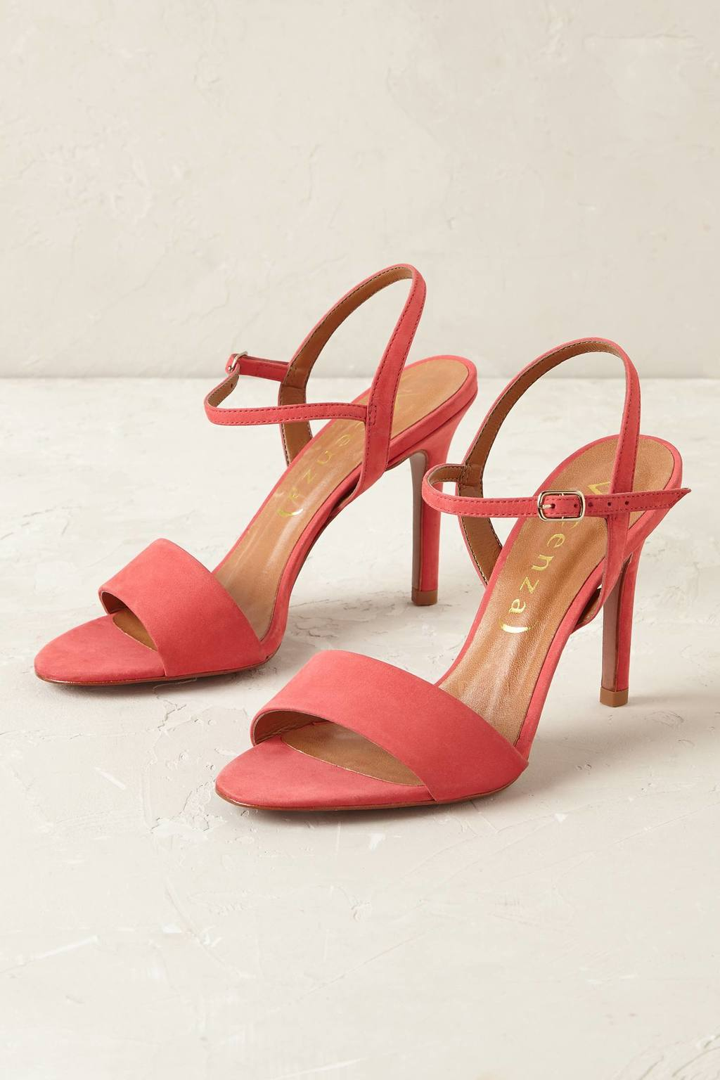 Rosalia Nubuck Heels - predominant colour: coral; occasions: evening, occasion; material: faux leather; heel height: high; heel: stiletto; toe: open toe/peeptoe; style: standard; finish: plain; pattern: plain; season: s/s 2016; wardrobe: event