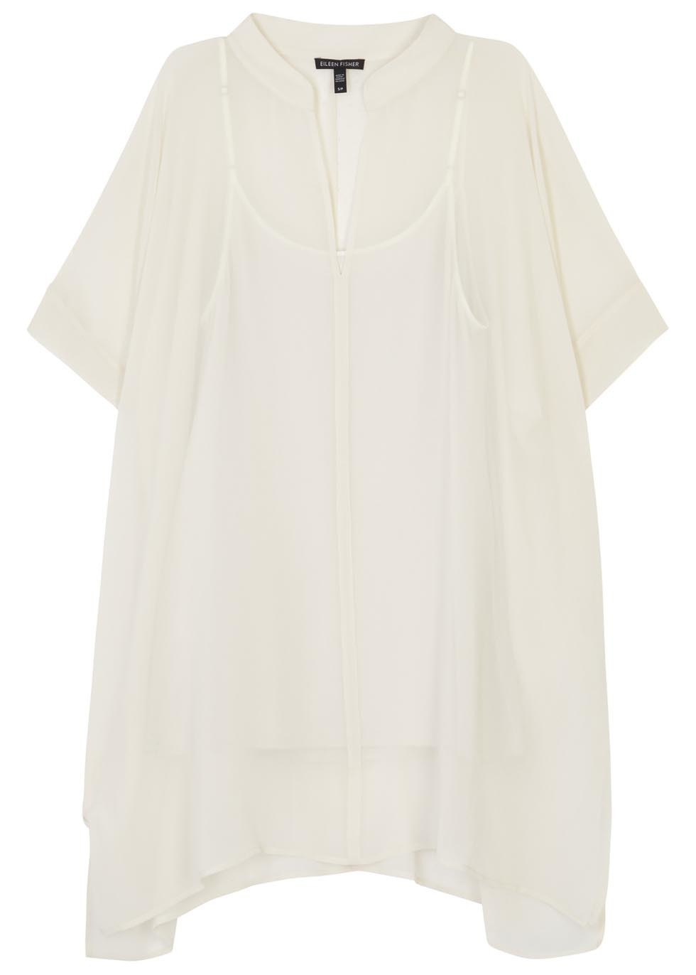 Ivory Silk Georgette Tunic - pattern: plain; style: tunic; predominant colour: ivory/cream; occasions: casual, creative work; neckline: collarstand & mandarin with v-neck; fibres: silk - 100%; fit: loose; length: mid thigh; sleeve length: short sleeve; sleeve style: standard; texture group: crepes; pattern type: fabric; season: s/s 2016; wardrobe: basic