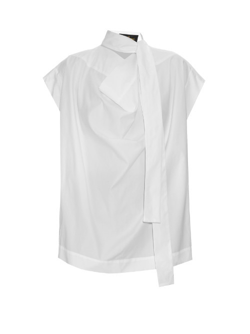 Garrett Neck Tie Cotton Poplin Blouse - sleeve style: capped; pattern: plain; neckline: high neck; style: blouse; predominant colour: white; occasions: casual, creative work; length: standard; fibres: cotton - 100%; fit: body skimming; sleeve length: short sleeve; texture group: cotton feel fabrics; bust detail: bulky details at bust; pattern type: fabric; season: s/s 2016; wardrobe: highlight