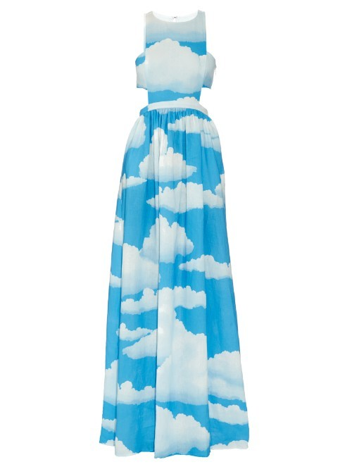 Cloud Print Linen Racer Back Maxi Dress - sleeve style: sleeveless; style: maxi dress; secondary colour: white; predominant colour: diva blue; length: floor length; fit: fitted at waist & bust; fibres: linen - 100%; occasions: occasion; neckline: crew; waist detail: cut out detail; sleeve length: sleeveless; texture group: linen; pattern type: fabric; pattern size: big & busy; pattern: florals; season: s/s 2016; wardrobe: event