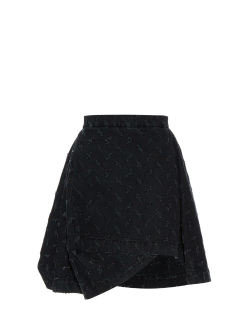 Aztek Slash Cut A Line Denim Skirt - length: mid thigh; pattern: plain; fit: loose/voluminous; waist: high rise; predominant colour: black; occasions: casual, creative work; style: a-line; fibres: cotton - 100%; hip detail: soft pleats at hip/draping at hip/flared at hip; pattern type: fabric; texture group: woven light midweight; season: s/s 2016; wardrobe: basic