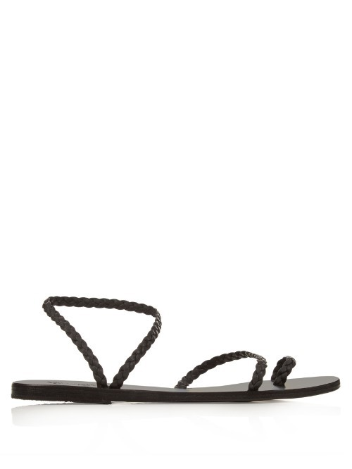 Eleftheria Leather Sandals - predominant colour: black; occasions: casual, holiday; material: leather; heel height: flat; heel: standard; toe: open toe/peeptoe; style: strappy; finish: plain; pattern: plain; season: s/s 2016; wardrobe: basic