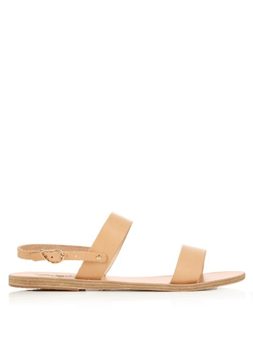 Clio Leather Sandals - predominant colour: ivory/cream; occasions: casual, holiday; material: leather; heel height: flat; heel: block; toe: open toe/peeptoe; style: strappy; finish: plain; pattern: plain; season: s/s 2016; wardrobe: basic