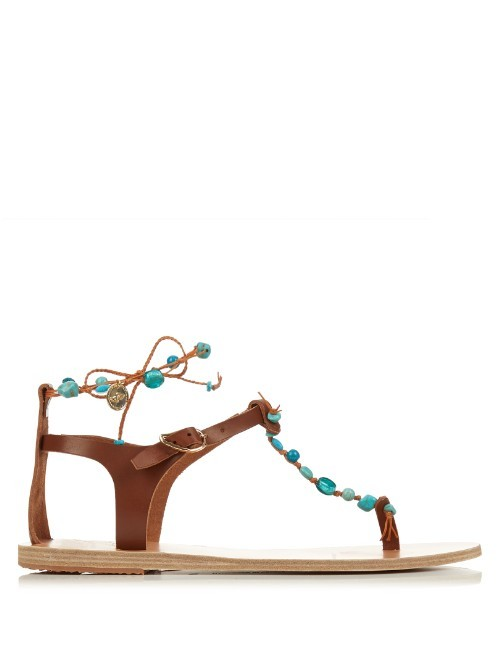 Chrysso Leather Sandals - predominant colour: tan; occasions: casual; material: leather; heel height: flat; heel: standard; toe: toe thongs; style: standard; finish: plain; pattern: plain; season: s/s 2016; wardrobe: highlight