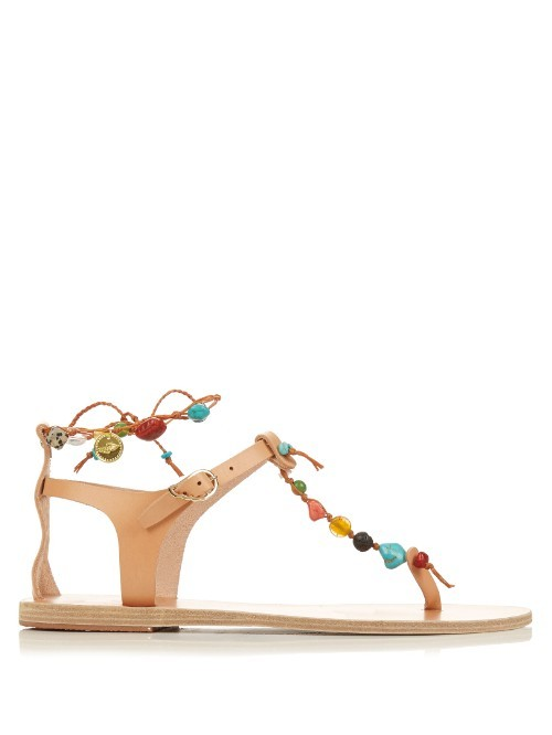 Chrysso Leather Sandals - predominant colour: camel; occasions: casual, holiday; material: leather; heel height: flat; embellishment: beading; ankle detail: ankle strap; heel: block; toe: toe thongs; style: strappy; finish: plain; pattern: plain; season: s/s 2016; wardrobe: highlight