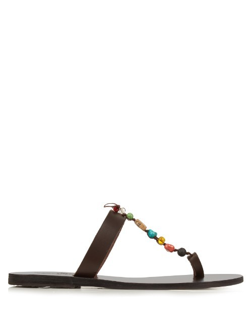 Iris Stones Leather Sandals - predominant colour: black; occasions: casual, holiday; material: leather; heel height: flat; embellishment: beading; heel: block; toe: toe thongs; style: strappy; finish: plain; pattern: plain; season: s/s 2016