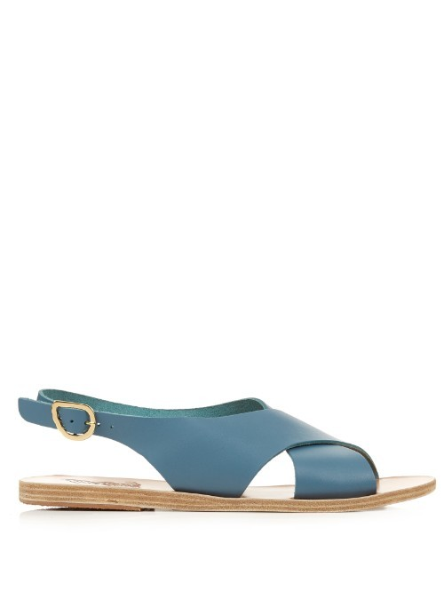 Maria Leather Sandals - predominant colour: denim; occasions: casual, holiday; material: leather; heel height: flat; heel: block; toe: open toe/peeptoe; style: strappy; finish: plain; pattern: plain; season: s/s 2016