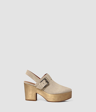 Gothenberg Shoe - predominant colour: taupe; occasions: casual, holiday; material: suede; heel height: mid; embellishment: buckles; heel: block; toe: round toe; style: mules; finish: plain; pattern: plain; shoe detail: platform; season: s/s 2016; wardrobe: highlight