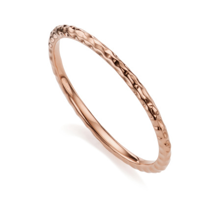Rose Gold Vermeil Hammered Thin Ring - predominant colour: gold; occasions: evening; style: band; size: standard; material: chain/metal; finish: metallic; season: s/s 2016; wardrobe: event