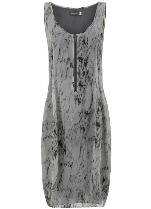 Corrinne Print Cocoon Dress - length: mid thigh; sleeve style: standard vest straps/shoulder straps; style: vest; secondary colour: charcoal; predominant colour: mid grey; occasions: casual; fit: straight cut; neckline: scoop; fibres: polyester/polyamide - 100%; sleeve length: sleeveless; texture group: crepes; pattern type: fabric; pattern size: standard; pattern: patterned/print; season: s/s 2016; wardrobe: highlight; embellishment location: bust
