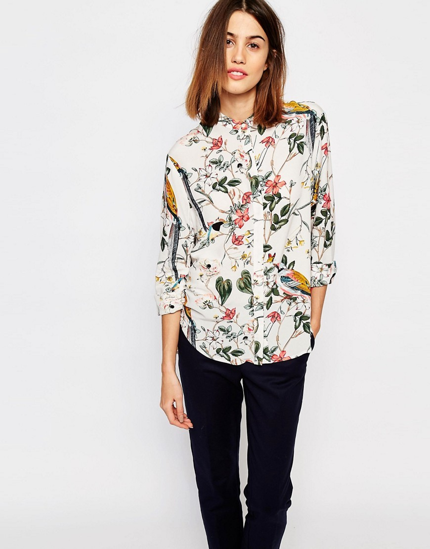 Floral Bird Print Blouse Cream Base - neckline: shirt collar/peter pan/zip with opening; style: blouse; predominant colour: ivory/cream; occasions: casual, creative work; length: standard; fibres: viscose/rayon - 100%; fit: body skimming; sleeve length: 3/4 length; sleeve style: standard; pattern type: fabric; pattern: florals; texture group: other - light to midweight; pattern size: big & busy (top); multicoloured: multicoloured; season: s/s 2016; wardrobe: highlight
