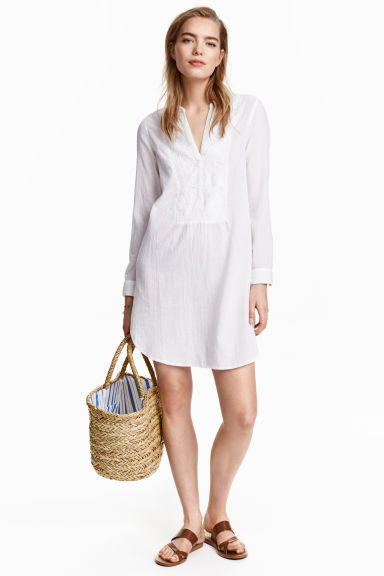 Cotton Tunic - neckline: v-neck; pattern: plain; style: tunic; predominant colour: white; occasions: casual; fibres: cotton - 100%; fit: body skimming; length: mid thigh; sleeve length: long sleeve; sleeve style: standard; texture group: cotton feel fabrics; pattern type: fabric; embellishment: embroidered; season: s/s 2016; wardrobe: highlight