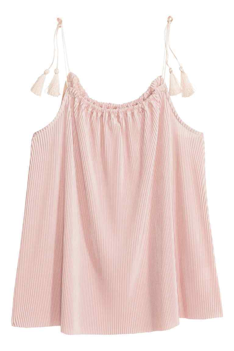 Pleated Top - neckline: round neck; sleeve style: spaghetti straps; pattern: plain; style: vest top; predominant colour: blush; occasions: casual; length: standard; fibres: polyester/polyamide - 100%; fit: body skimming; sleeve length: sleeveless; pattern type: fabric; texture group: other - light to midweight; embellishment: fringing; season: s/s 2016; wardrobe: highlight; embellishment location: shoulder