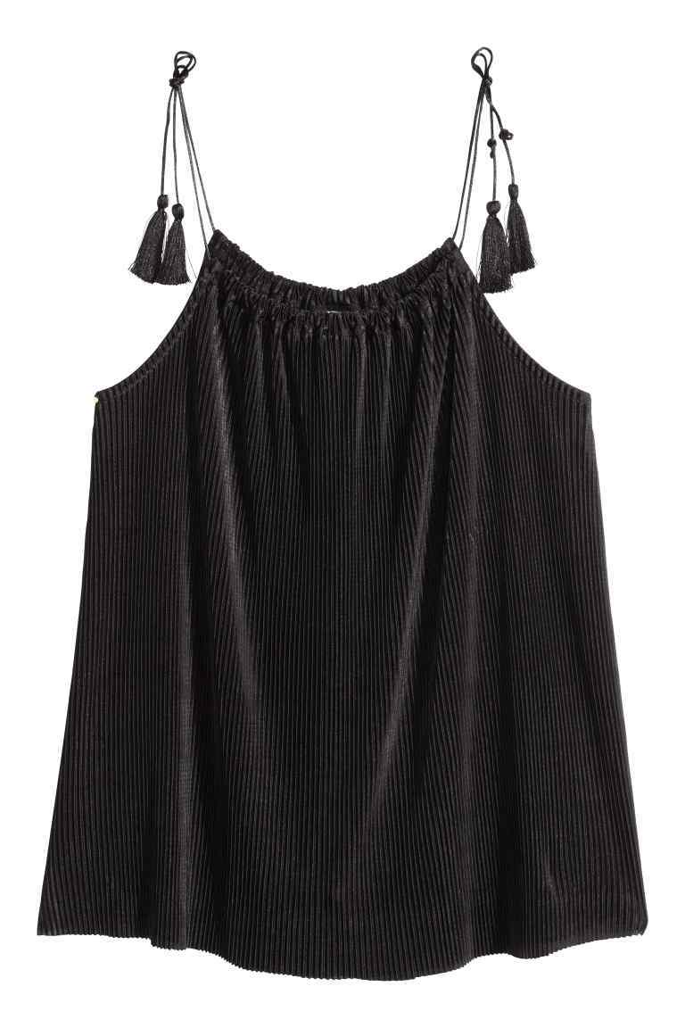 Pleated Top - pattern: plain; sleeve style: sleeveless; style: vest top; predominant colour: black; occasions: casual; length: standard; neckline: scoop; fibres: polyester/polyamide - 100%; fit: body skimming; sleeve length: sleeveless; pattern type: fabric; texture group: other - light to midweight; embellishment: fringing; season: s/s 2016