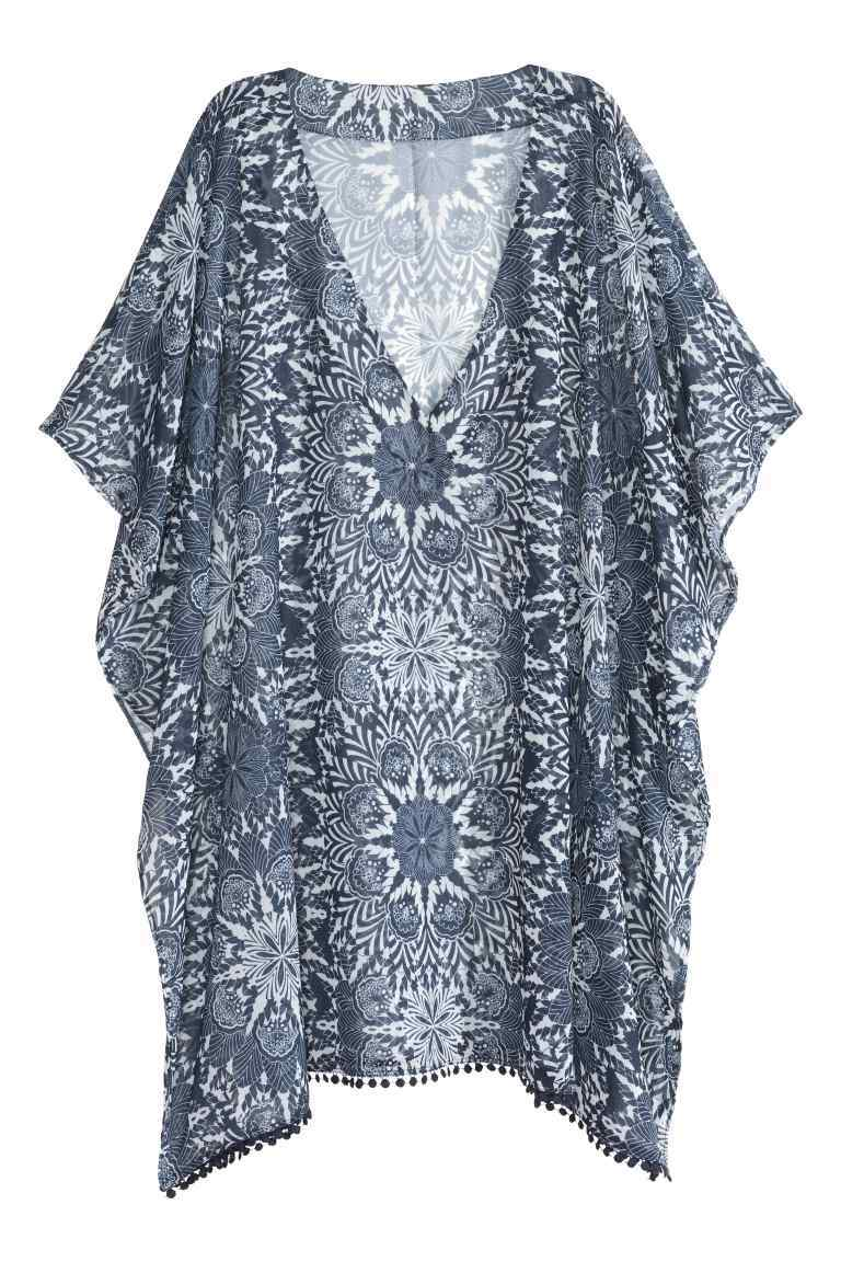 Short Chiffon Kaftan - length: mini; neckline: v-neck; sleeve style: dolman/batwing; fit: loose; style: kaftan; secondary colour: white; predominant colour: mid grey; fibres: polyester/polyamide - 100%; sleeve length: short sleeve; texture group: sheer fabrics/chiffon/organza etc.; occasions: holiday; pattern type: fabric; pattern: patterned/print; multicoloured: multicoloured; season: s/s 2016; wardrobe: holiday