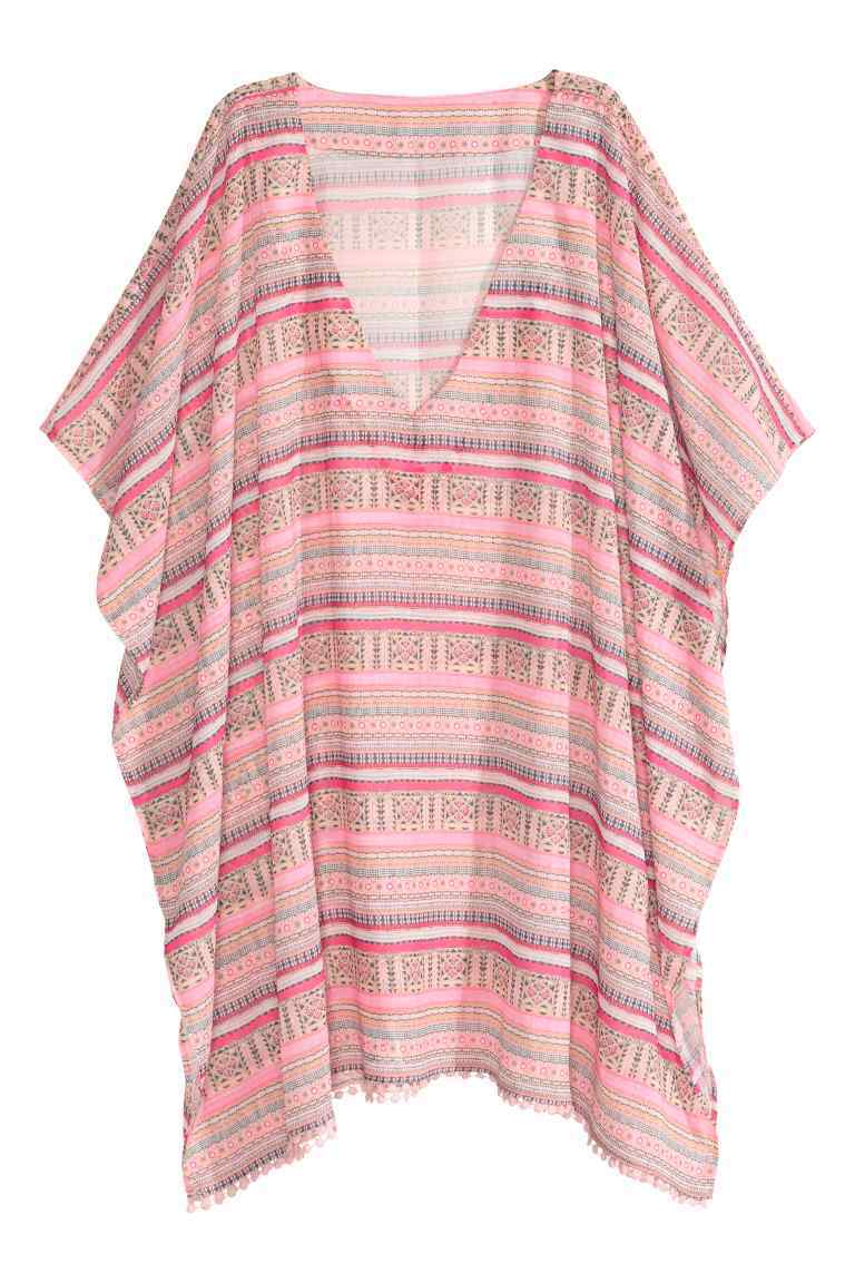 Short Chiffon Kaftan - length: mini; neckline: v-neck; sleeve style: dolman/batwing; fit: loose; pattern: horizontal stripes; style: kaftan; predominant colour: pink; fibres: polyester/polyamide - 100%; sleeve length: short sleeve; texture group: sheer fabrics/chiffon/organza etc.; occasions: holiday; pattern type: fabric; season: s/s 2016; wardrobe: holiday