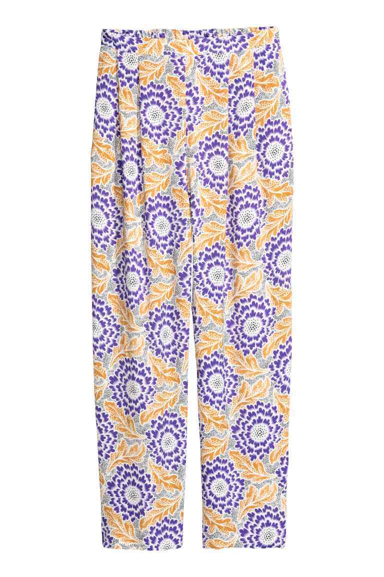 Patterned Satin Trousers - waist: mid/regular rise; secondary colour: purple; predominant colour: nude; occasions: casual, creative work; length: ankle length; fibres: polyester/polyamide - 100%; hip detail: front pleats at hip level; fit: straight leg; pattern type: fabric; pattern: patterned/print; texture group: other - light to midweight; style: standard; pattern size: standard (bottom); season: s/s 2016; wardrobe: highlight
