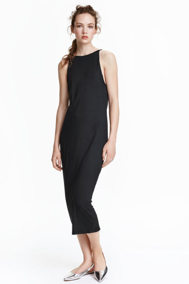 Draped Dress - style: shift; length: calf length; pattern: plain; sleeve style: sleeveless; predominant colour: black; occasions: evening; fit: body skimming; fibres: polyester/polyamide - 100%; neckline: crew; sleeve length: sleeveless; pattern type: fabric; texture group: jersey - stretchy/drapey; season: s/s 2016